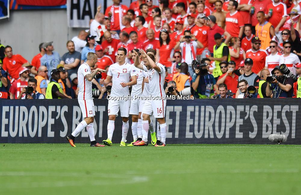 2016.06.25 Saint-Etienne<br /> Pilka nozna Euro 2016<br /> mecz 1/8 finalu Szwajcaria - Polska<br /> N/z bramka gol radosc Jakub Blaszczykowski<br /> Foto Lukasz Laskowski / PressFocus<br /> <br /> 2016.06.25<br /> Football UEFA Euro 2016 <br /> Round of 16 game between Switzerland and Poland<br /> bramka gol radosc Jakub Blaszczykowski<br /> Credit: Lukasz Laskowski / PressFocus
