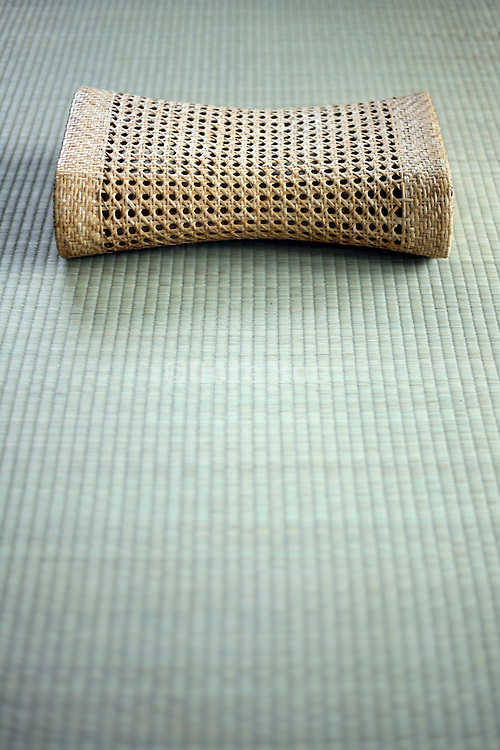 Asian style cooling Bamboo head cushion on a tatami floor