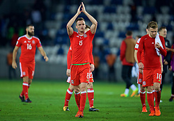 TBILSI, GEORGIA - Friday, October 6, 2017: Wales' Andy King celebrates after beating Georgia 1-0 during the 2018 FIFA World Cup Qualifying Group D match between Georgia and Wales at the Boris Paichadze Dinamo Arena. (Pic by David Rawcliffe/Propaganda)