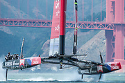 Emirates Team New Zealand take NZL5 out on on the bay for the fourth day of testing and practice in San Francisco. 29/5/2013