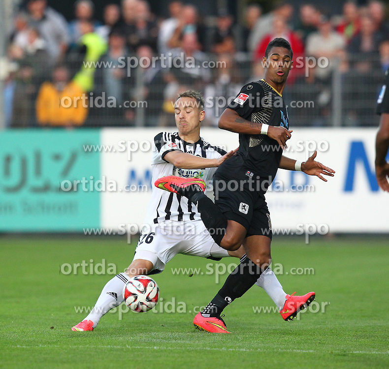 03.10.2014, Scholz Arena, Aalen, GER, 2. FBL, VfR Aalen vs TSV 1860 Muenchen, 9. Runde, im Bild Fabian Weiss (VfR Aalen) rechts Rubin Okotie ( TSV 1860 Muenchen ) // during the 2nd German Bundesliga 9th round match between VfR Aalen and TSV 1860 Muenchen at the Scholz Arena in Aalen, Germany on 2014/10/03. EXPA Pictures &copy; 2014, PhotoCredit: EXPA/ Eibner-Pressefoto/ Langer<br /> <br /> *****ATTENTION - OUT of GER*****