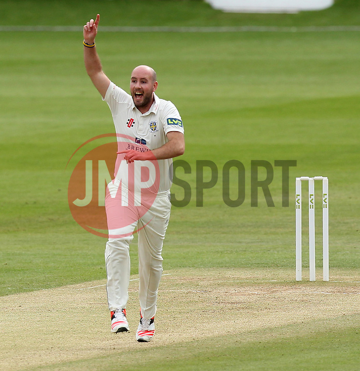 Durham's Chris Rushworth celebrates taking his 5fer - Photo mandatory by-line: Robbie Stephenson/JMP - Mobile: 07966 386802 - 04/05/2015 - SPORT - Football - London - Lords  - Middlesex CCC v Durham CCC - County Championship Division One