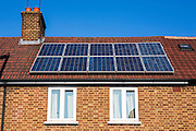 A house on Forest Road, Walthamstow with newly installed photo voltaic (PV) panels.