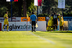 Players of NK Domzale celebrating goal during football match between NK Triglav and NK Domzale in 9th Round of Prva liga Telekom Slovenije 2019/20, on September 15, 2019 in Sport park Kranj, Kranj, Slovenia. Photo by Grega Valancic / Sportida