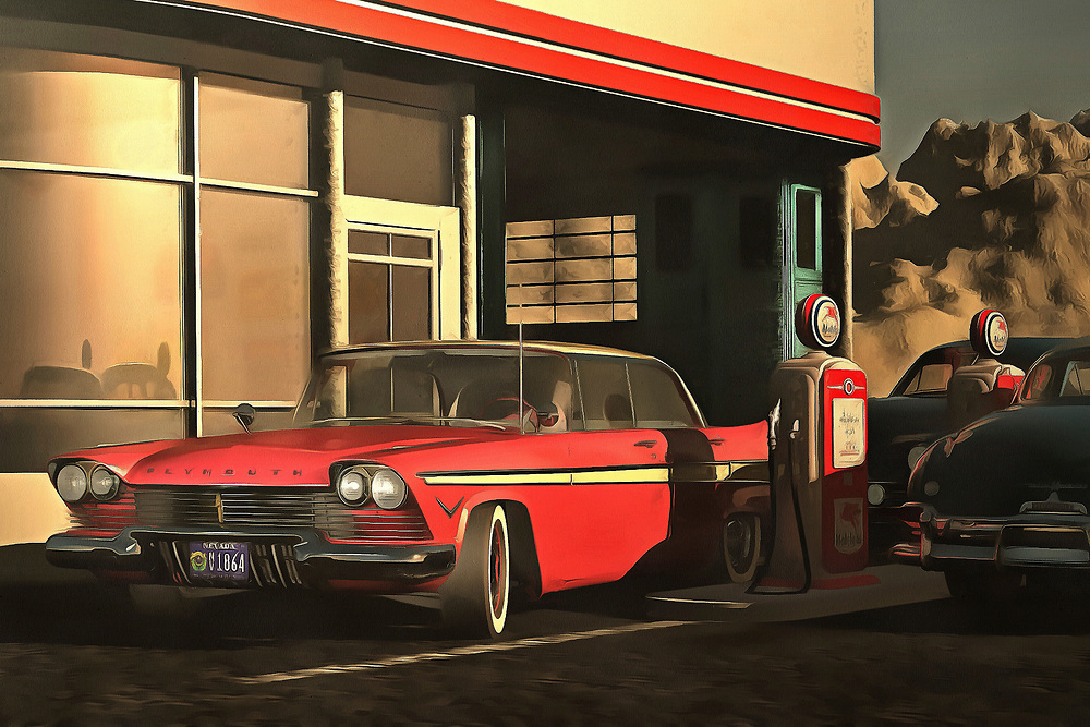 This image depicting an old-time Plymouth at a rural gas station brings to mind warm memories of warm summer nights. It brings to mind the music of Bruce Springsteen. It creates a powerful connection between ourselves and our memories. At the same time, the scene is simply an engaging one. It is a beautiful car on a beautiful early evening. The tank is almost full. The night is going to have something to offer. The sooner you get out on the road, the sooner you can experience it yourself. Available as wall art, t-shirts, or as interior products. .<br /> <br /> BUY THIS PRINT AT<br /> <br /> FINE ART AMERICA<br /> ENGLISH<br /> https://janke.pixels.com/featured/old-timer-plymouth-jan-keteleer.html<br /> <br /> <br /> WADM / OH MY PRINTS<br /> DUTCH / FRENCH / GERMAN<br /> https://www.werkaandemuur.nl/nl/shopwerk/Retro---Klassiek-Oldtimer-Plymouth-bij-een-benzinestation/439198/134