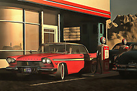 This image depicting an old-time Plymouth at a rural gas station brings to mind warm memories of warm summer nights. It brings to mind the music of Bruce Springsteen. It creates a powerful connection between ourselves and our memories. At the same time, the scene is simply an engaging one. It is a beautiful car on a beautiful early evening. The tank is almost full. The night is going to have something to offer. The sooner you get out on the road, the sooner you can experience it yourself. Available as wall art, t-shirts, or as interior products.
