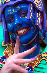 "IRELAND DUBLIN 17MAR00 - Loraine McDoyle (20), from Co Donegal strikes a pose during preparations for Dublin's St. Patrick's Day celebrations. McDoyle is part of the Inishowen Carnival Group which entertained with their theme ""Drumming down the Demons.""..jre/Photo by Jiri Rezac..© Jiri Rezac 2000..Contact: +44 (0) 7050 110 417.Mobile:  +44 (0) 7801 337 683.Office:  +44 (0) 20 8968 9635..Email:   jiri@jirirezac.com.Web:     www.jirirezac.com..© All images Jiri Rezac 2000 - All rights reserved."