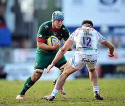 Jordan Crane of Leicester Tigers in possession - Photo mandatory by-line: Patrick Khachfe/JMP - Mobile: 07966 386802 28/03/2015 - SPORT - RUGBY UNION - Leicester - Welford Road - Leicester Tigers v Exeter Chiefs - Aviva Premiership