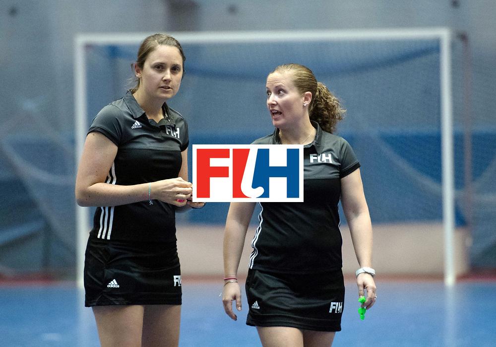 BERLIN - Indoor Hockey World Cup<br /> Switzerland - Poland<br /> foto: Umpires Emily Carroll and Maggy Giddens<br /> WORLDSPORTPICS COPYRIGHT FRANK UIJLENBROEK