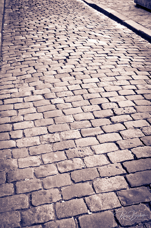 Cobblestone detail in old town Vieux Lyon, France (UNESCO World Heritage Site)