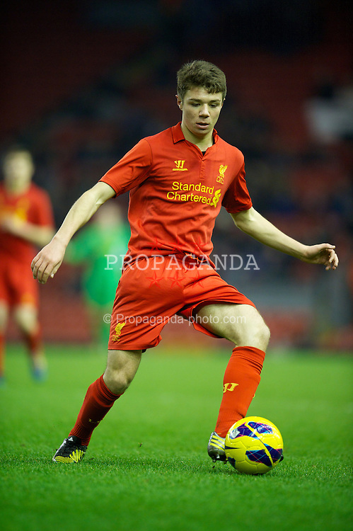 LIVERPOOL, ENGLAND - Thursday, February 28, 2013: Liverpool's Joe Maguire in action against Leeds United during the FA Youth Cup 5th Round match at Anfield. (Pic by David Rawcliffe/Propaganda)
