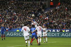 October 10, 2017 - Paris, France - France's Olivier Giroud 9 heads the ball during the FIFA World Cup 2018 qualification football match between France and Belarus at the Stade de France in Saint-Denis, north of Paris, on October 10, 2017. (Credit Image: © Elyxandro Cegarra/NurPhoto via ZUMA Press)