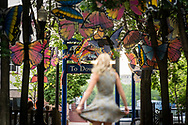 Public art installation of butterflies over the Rosewood Walkway in downtown Marquette, Michigan.