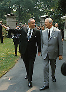 President Johnson walking with Georg Kurt Kiesinger on the North Lawn of the White House..Photograph by Dennis Brack bb 27