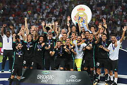 August 8, 2017 - Skopje, Macedonia - The Real Madrid team celebrate their win after the UEFA Super Cup match between Real Madrid and Manchester United at National Arena Filip II Macedonian on August 8, 2017 in Skopje, Macedonia. (Credit Image: © Ahmad Mora/NurPhoto via ZUMA Press)