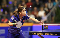 31.01.2016, Max Schmeling Halle, Berlin, GER, German Open 2016, im Bild Ho Ching Lee (HKG) bei der Angabe // during the table Tennis 2016 German Open at the Max Schmeling Halle in Berlin, Germany on 2016/01/31. EXPA Pictures © 2016, PhotoCredit: EXPA/ Eibner-Pressefoto/ Wuest<br /> <br /> *****ATTENTION - OUT of GER*****