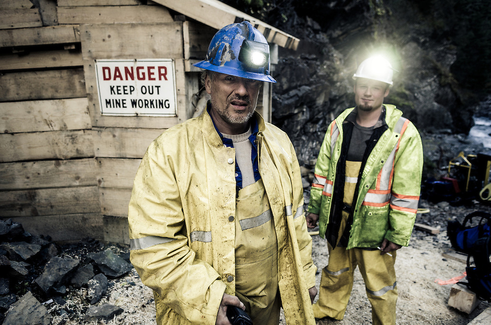 Miners carry out rehabilitation work on the historic Torbrit Silver mine, Alice Arm BC