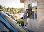 072407 BETSY MEYER; JEFF MEYER; BETSY, 8 DAYS AFTER MOVING  INTO ADULT FAMILY HOME<br /> <br /> After visiting Betsy in the adult family home, Jeff makes a last check on his wife through the window of her room, where her life is now mostly without him.