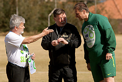 Branko Vekic, Marko Ilesic as referee  and Ivan Simic of NZS during friendly match between Slovenian football journalists and officials of Slovenian football federation at  Hyde Park High School Stadium on June 16, 2010 in Johannesburg, South Africa.  (Photo by Vid Ponikvar / Sportida)