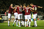Picture by David Horn/Focus Images Ltd +44 7545 970036.30/08/2012.Northampton Town celebrate Clive Platt's (2nd left) goal during the Capital One Cup match at Sixfields Stadium, Northampton.