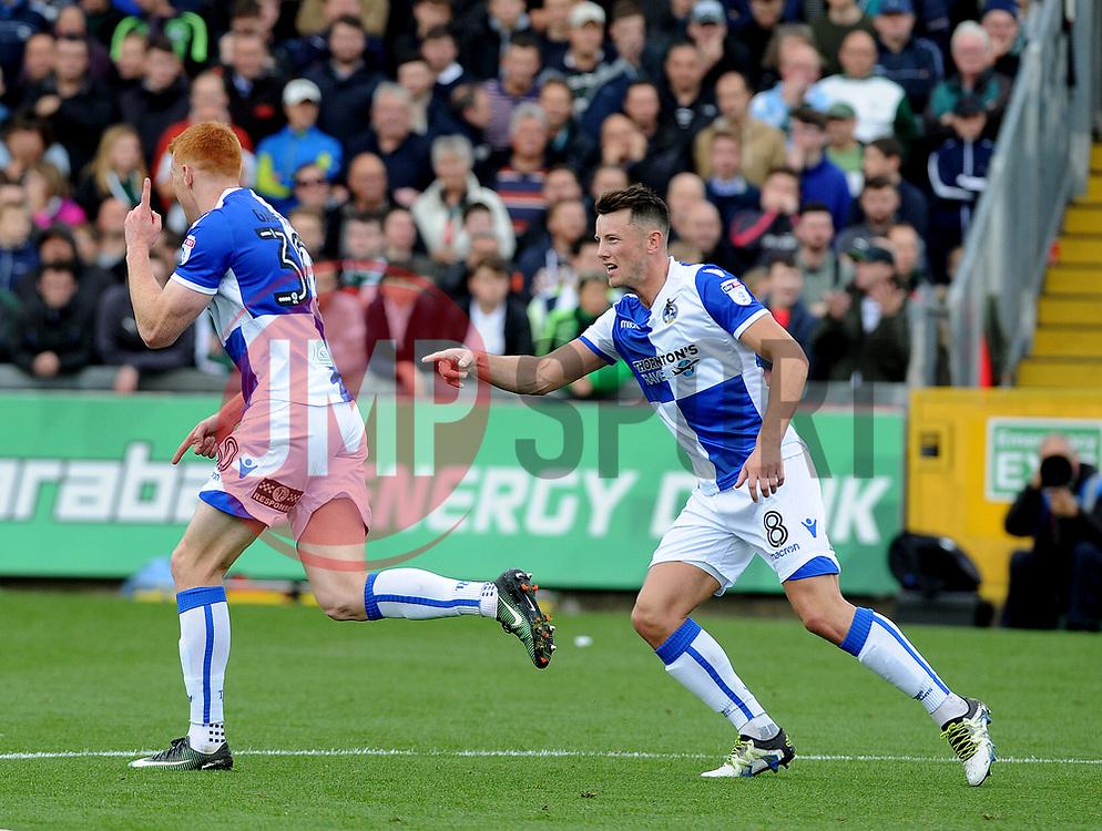 Rory Gaffney celebrates with Ollie Clarke of Bristol Rovers - Mandatory by-line: Neil Brookman/JMP - 30/09/2017 - FOOTBALL - Memorial Stadium - Bristol, England - Bristol Rovers v Plymouth Argyle - Sky Bet League One