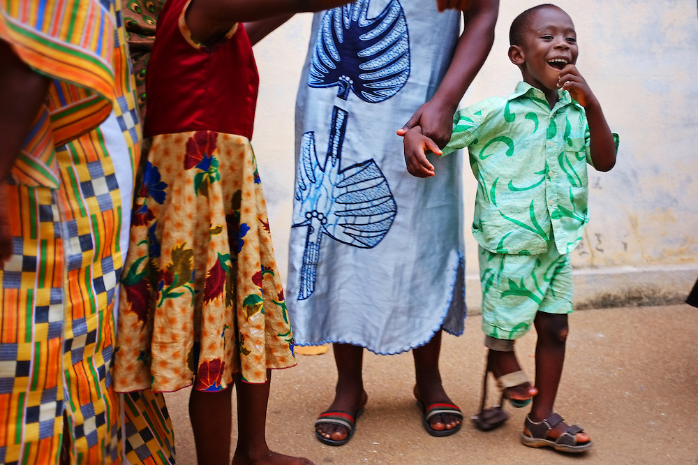 LOME, TOGO - 12-09-19   -Four-year-old Jean Claude Tossou at a self help group for mothers with disabled children in Lomé, Togo on Wednesday, September 19. Approximately 35 women attend the group, which meets at a local health clinic. Photo by Daniel Hayduk