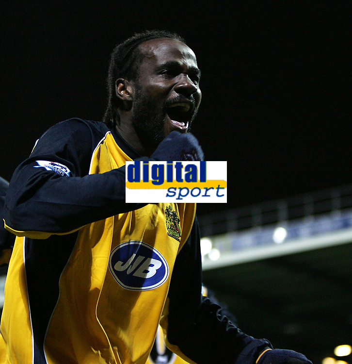 Photo: Lee Earle.<br /> Portsmouth v Wigan Athletic. The Barclays Premiership. 05/11/2005. Wigan's Pascal Chimbonda celebrates his opening goal.