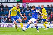 Luke Ayling of Leeds United (2) and Alan Judge of Ipswich Town (31) in action during the EFL Sky Bet Championship match between Ipswich Town and Leeds United at Portman Road, Ipswich, England on 5 May 2019.