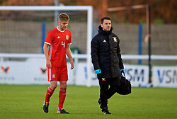 BANGOR, WALES - Monday, October 15, 2018: Wales' captain Ryan Reynolds is substituted after sustaining an injury during the UEFA Under-19 International Friendly match between Wales and Poland at the VSM Bangor Stadium. (Pic by Paul Greenwood/Propaganda)
