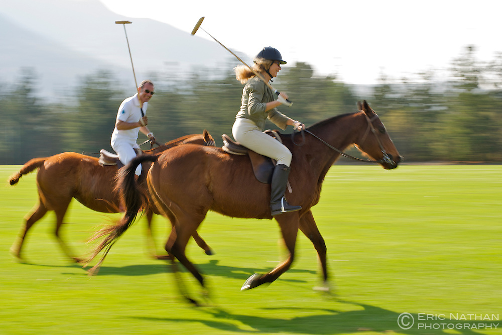 Practising polo on the Kurland estate in Plettenberg Bay on the Garden Route in South Africa.