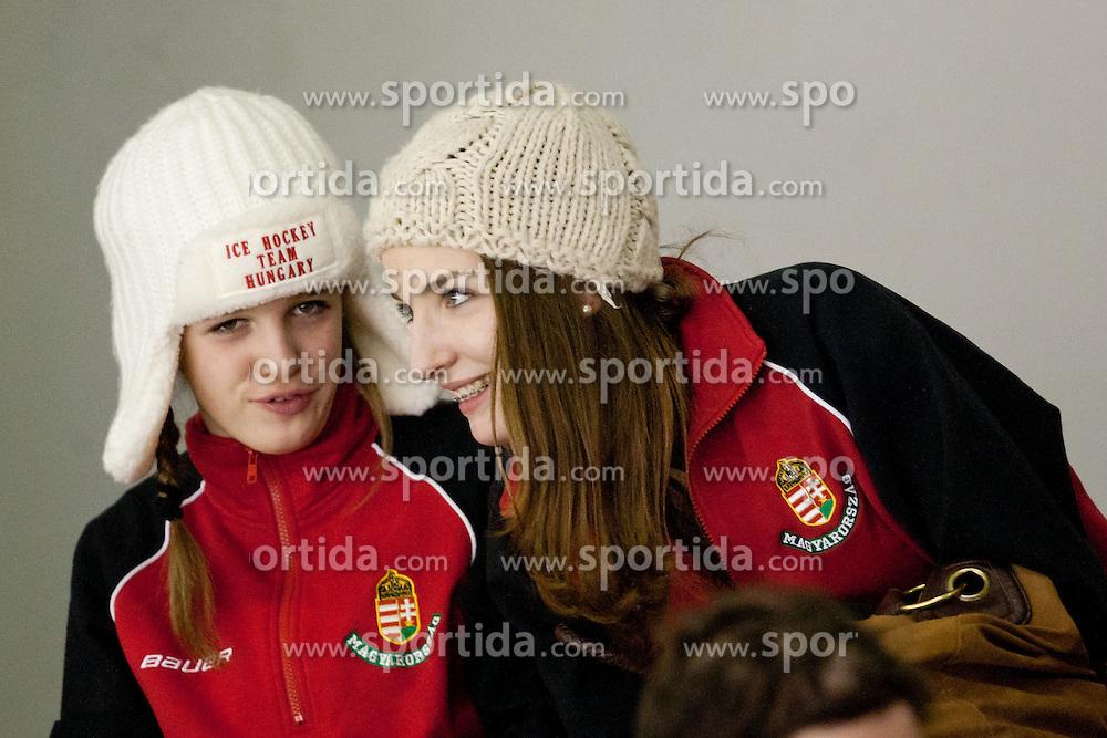 Hungarian women's ice-hockey players during ice-hockey match between HDD Tilia Olimpija and SAPA Fehervar AV19 at fourth match in Quarterfinal  of EBEL league, on Februar 26, 2012 at Hala Tivoli, Ljubljana, Slovenia. HDD Tilia Olimpija won 6:4. (Photo By Matic Klansek Velej / Sportida)