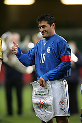 CARDIFF, WALES - WEDNESDAY, MARCH 1st, 2006: Paraguay's captain Roberto Acuna before the International Friendly match against Wales at the Millennium Stadium. (Pic by Dan Istitenel/Propaganda)