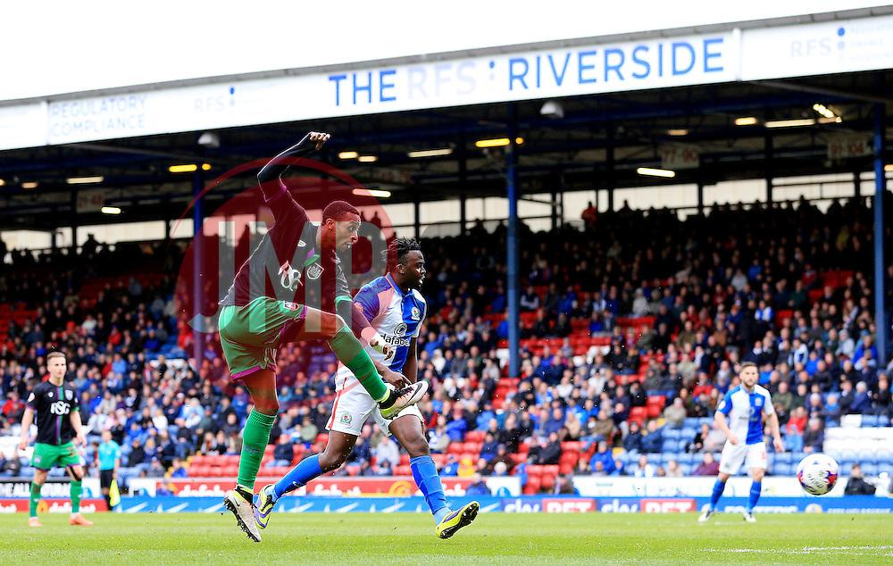 Jonathan Kodjia of Bristol City scores his sides first goal  - Mandatory by-line: Matt McNulty/JMP - 23/04/2016 - FOOTBALL - Ewood Park - Blackburn, England - Blackburn Rovers v Bristol City - Sky Bet Championship