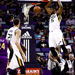 Feb 8, 2017; New Orleans, LA, USA; Utah Jazz forward Derrick Favors (15) dunks against the New Orleans Pelicans during the first quarter of a game at the Smoothie King Center. Mandatory Credit: Derick E. Hingle-USA TODAY Sports