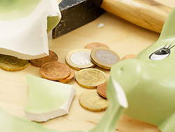 Dec. 14, 2012 - Smashed piggy bank (Credit Image: © Image Source/ZUMAPRESS.com)