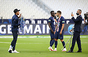 Kylian Mbappe of PSG celebrates the victory posing with th Cup following the French Cup final football match between Paris Saint-Germain (PSG) and AS Saint-Etienne (ASSE) on Friday 24, 2020 at the Stade de France in Saint-Denis, near Paris, France - Photo Juan Soliz / ProSportsImages / DPPI
