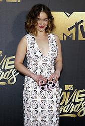 Emilia Clarke at the 2016 MTV Movie Awards held at the Warner Bros. Studios in Burbank, USA on April 9, 2016.