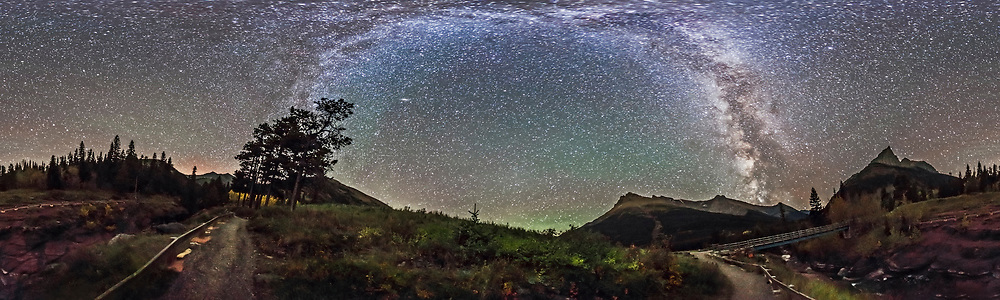 A 360&deg; panorama of the Milky Way and night sky taken at Red Rock Canyon in Waterton Lakes National Park, Alberta, Canada. I shot this Sept 21, 2014 on a very clear night with no noticeable aurora and very little airglow. The ground is lit solely by starlight.<br /><br />This is a stitch of 8 segments, each shot with the 15mm full-frame fisheye lens, for 1 minute at f/2.8 and with the Canon 6D at ISO 6400. I used PTGui to stitch the segments, with this version being an equirectangular projection.