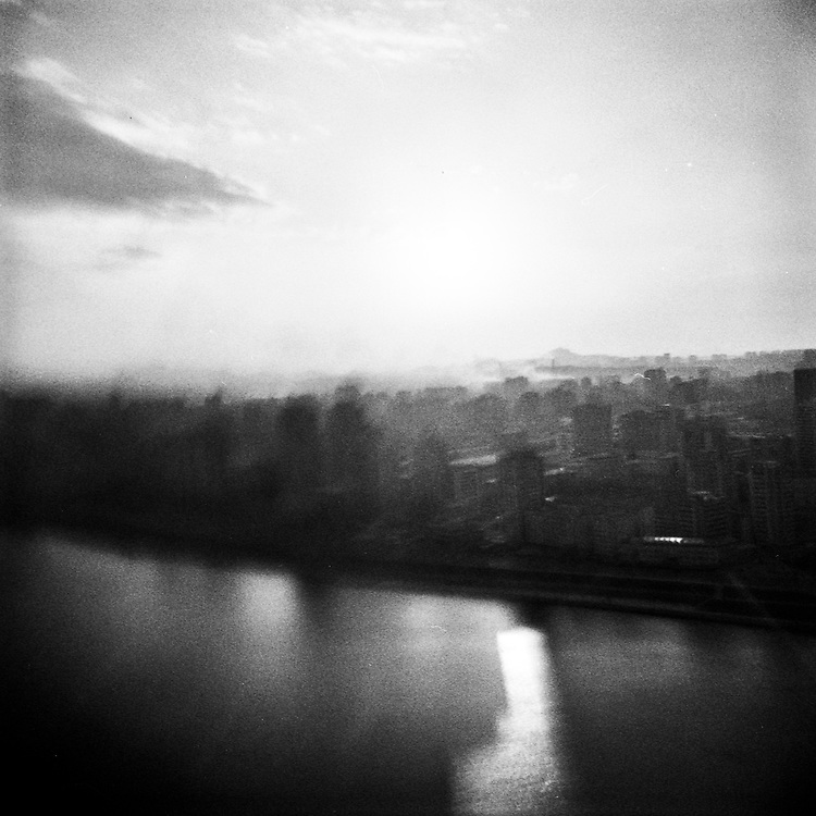 A view over the Taedong river in Pyongyang, North Korea.