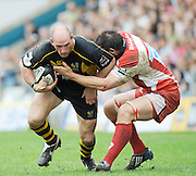 Wycombe, GREAT BRITAIN, Wasps', Lawrence DALLAGLIO, breaks through gareth DELVES  tackle, during the Guinness Premiership game, London Wasps vs Gloucester Rugby, Sun. 04.05.2008 [Mandatory Credit Peter Spurrier/Intersport Images]