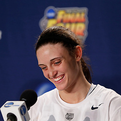 Apr 9, 2013; New Orleans, LA, USA; Connecticut Huskies guard Kelly Faris (34) addresses the media in a press conference after the championship game in the 2013 NCAA womens Final Four against the Louisville Cardinals at the New Orleans Arena. Connecticut defeated Louisville 93-60. Mandatory Credit: Derick E. Hingle-USA TODAY Sports