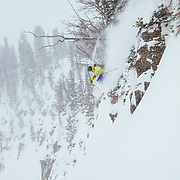 Forrest Jillson getting some air during a monster spring storm in the Teton backcountry.