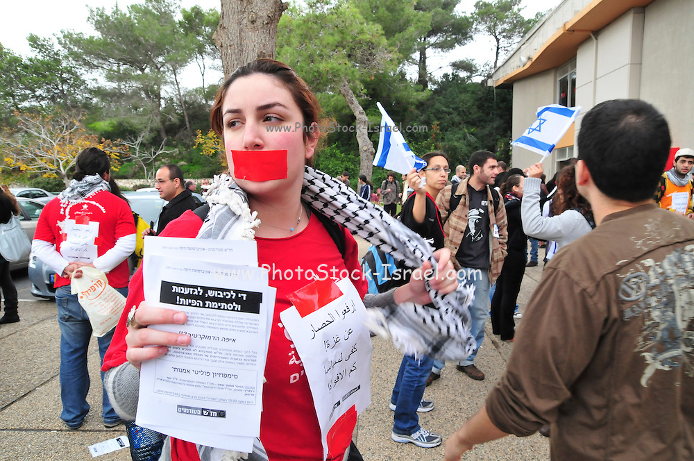 Israel, Haifa University, Students in an anti occupation Demonstration December 30th 2009