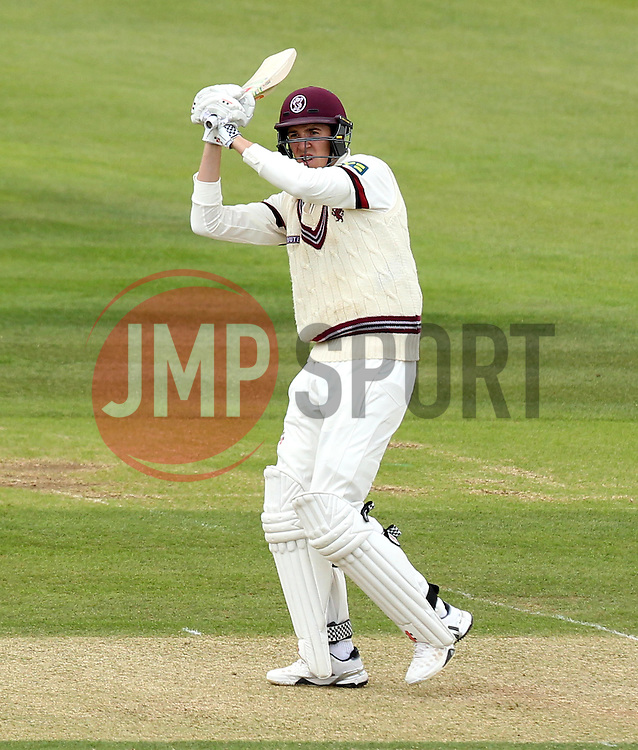 Somerset's Craig Overton flicks a shot for six - Photo mandatory by-line: Robbie Stephenson/JMP - Mobile: 07966 386802 - 22/06/2015 - SPORT - Cricket - Southampton - The Ageas Bowl - Hampshire v Somerset - County Championship Division One