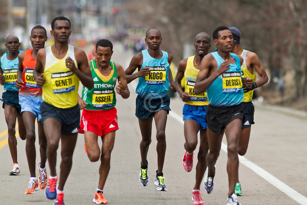 2013 Boston Marathon: lead group of elite men includes Micah Kogo of Kenya in his marathon debut, eventually finishes second