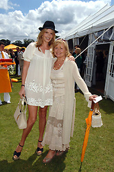 Left to right, PENNY LANCASTER wife of singer Rod Stewart and her mother SALLY LANCASTER at the final of the Veuve Clicquot Gold Cup 2007 at Cowdray Park, West Sussex on 22nd July 2007.<br />