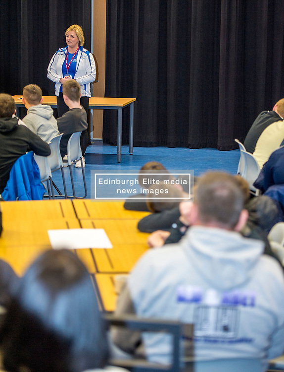 Pictured: Commonweath Silver medalist Steph Ingles spoke to the students about her recovery from a motorcycle accident in Vietnam where she was in a coma for six weeks<br /> <br /> Police Scotland visited Craigroyston High Schoolto today to host motorcycle safety seminar at the secondary school. The event looked at motorbike/vehicle misuse and the consequences involved after 50 students from the school were identified as potentially being involved in such activities. One of the school's 14 year old pupils, Bradley Williams died recently in a motorcycle accident recently and some of his relatives were their to plead with the students to be aware of the dangers of going on bikes with out the appropriate training and licences.<br /> Ger Harley   EEm 27 April 2017