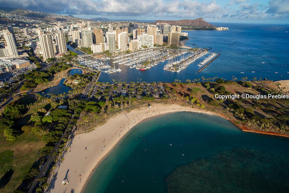 Aerial, Ala Moana Beach Park, Honolulu, Oahu, Hawaii