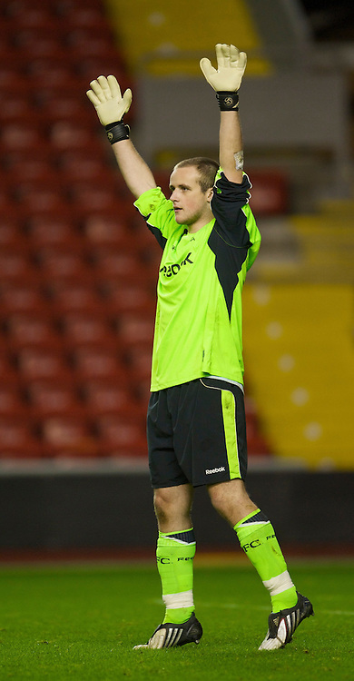 LIVERPOOL, ENGLAND - Friday, February 27, 2009: Bolton Wanderers' goalkeeper Tom Brocklehurst during the FA Youth Cup Quarter Final at Anfield. (Photo by David Rawcliffe/Propaganda)