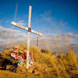 111008      Brian Leddy.A roadside memorial for Navajo Code Talker Preston Toledo lies near Crownpoint on Highway 371. A dispute has risen recently about the legality of such memorials and a group of Atheists are suing to have them removed.